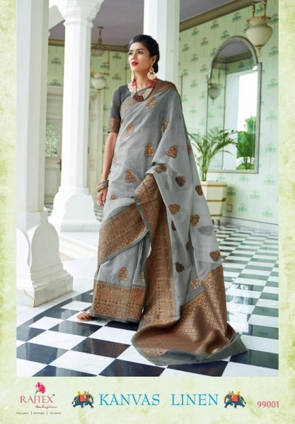 RAJTEX PRESENTS CANVAS LINEN FABRIC DESIGNER SAREE WHOLESALE DEALER BEST RATE BY GOSIYA EXPORTS SURAT (8)