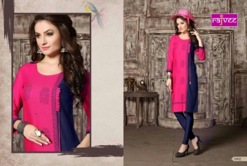 RAJVEE POSHAK CATALOGUE REYON KURTI CASUAL WEAR (1)