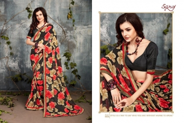 SAROJ BY DOLPHIN GEORGETTE PRINT SAREES CATALOG WHOLESALE SURAT BY SAROJ (4)
