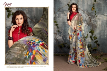 SAROJ BY DOLPHIN GEORGETTE PRINT SAREES CATALOG WHOLESALE SURAT BY SAROJ (5)