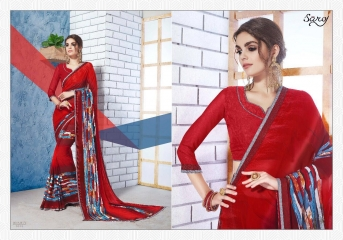 SAROJ GORGEOUS GEORGETTE PRINTS SAREES WHOLESALE BEST RATE SURAT BY GOSIYA EXPORTS SURAT INDIA (2)