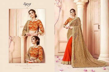 SAROJ SAREES CINDRELLA DESIGNER PARTY WEAR SAREES COLLECTION WHOLESALE BEST RATE BY GOSIYA EXPORTS SURAT (11)