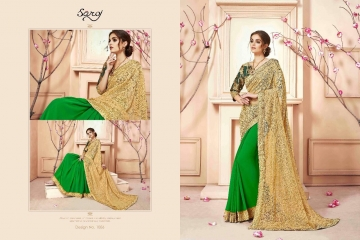 SAROJ SAREES CINDRELLA DESIGNER PARTY WEAR SAREES COLLECTION WHOLESALE BEST RATE BY GOSIYA EXPORTS SURAT (12)