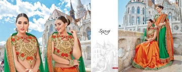 SAROJ TWIN SISTER 4 DYED DOUBLE BLOUSE DESIGNER WORK SAREES CATALOG WHOLESALE BETS RATE SURAT BY GOSIYA EXPORTS SURAT (1 (4)