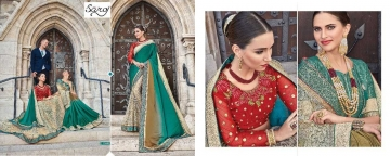 SAROJ TWIN SISTER 4 DYED DOUBLE BLOUSE DESIGNER WORK SAREES CATALOG WHOLESALE BETS RATE SURAT BY GOSIYA EXPORTS SURAT (1 (5)
