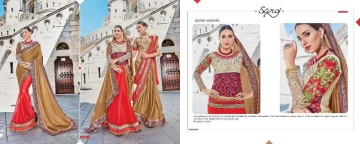 SAROJ TWIN SISTER 4 DYED DOUBLE BLOUSE DESIGNER WORK SAREES CATALOG WHOLESALE BETS RATE SURAT BY GOSIYA EXPORTS SURAT (1 (7)