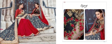 SAROJ TWIN SISTER 4 DYED DOUBLE BLOUSE DESIGNER WORK SAREES CATALOG WHOLESALE BETS RATE SURAT BY GOSIYA EXPORTS SURAT (1)