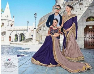SAROJ TWIN SISTER 4 DYED DOUBLE BLOUSE DESIGNER WORK SAREES CATALOG WHOLESALE BETS RATE SURAT BY GOSIYA EXPORTS SURAT