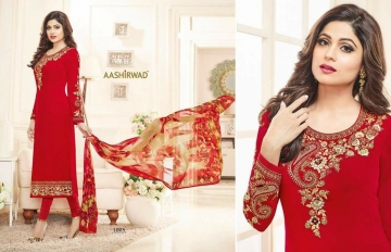 SHAMITA AASHIRWAD CREATION FANCY HEAVY EMBROIDERY WORK SALWAR SUITS WHOLESALE BEST RATE BY GOSIYA EXPORT SURAT (2)