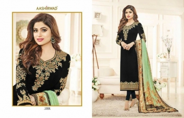 SHAMITA AASHIRWAD CREATION FANCY HEAVY EMBROIDERY WORK SALWAR SUITS WHOLESALE BEST RATE BY GOSIYA EXPORT SURAT (5)