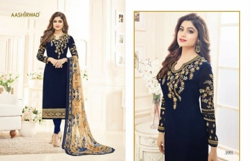 SHAMITA AASHIRWAD CREATION FANCY HEAVY EMBROIDERY WORK SALWAR SUITS WHOLESALE BEST RATE BY GOSIYA EXPORT SURAT (8)