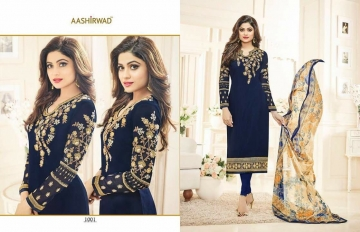 SHAMITA AASHIRWAD CREATION FANCY HEAVY EMBROIDERY WORK SALWAR SUITS WHOLESALE BEST RATE BY GOSIYA EXPORT SURAT (9)