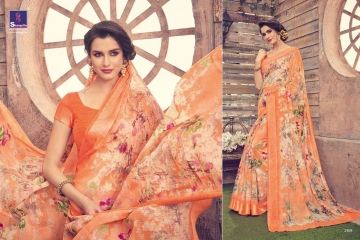 SHANGRILA KANCHANA COTTON FANCY COTTON LINEN PRINTED SAREE CATALOG IN WHOLESALE BEST ARTE BY GOSIYA EXPORTS SURAT (11)
