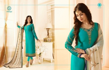 SHAZIYA SAARA CATALOG SATIN GEORGETTE EMBROIDERED JACKET STYLE E (5)