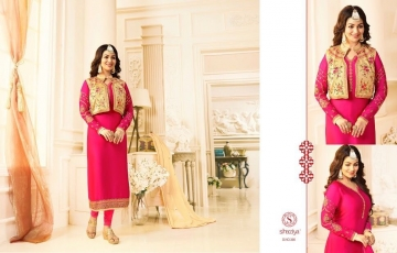 SHAZIYA SAARA CATALOG SATIN GEORGETTE EMBROIDERED JACKET STYLE E (6)