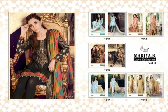 SHREE FAB PRESENTS MARIYA B LAWN COLLECTION VOL 3 CAMBRIC COTTON FABRIC WITH EMBROIDER
