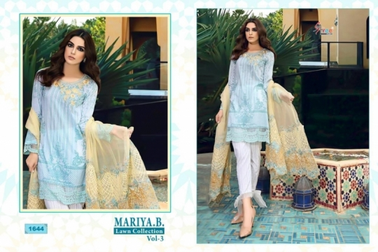 SHREE FAB PRESENTS MARIYA B LAWN COLLECTION VOL 3 CAMBRIC COTTON FABRIC WITH EMBROIDERY  (1)