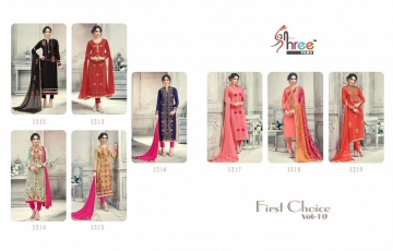 SHREE FABS FIRST CHOICE 19 GEORGETTE EMBROIDERED PARTY WEAR SUITS WHOLESALE T (7)