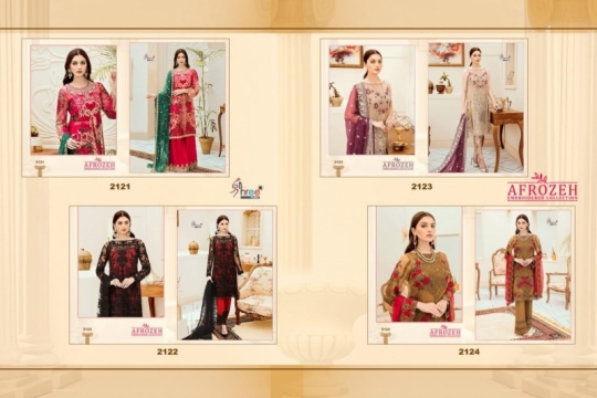 SHREE FABS SURAT AFROZEH EMBROIDERED COLLECTION PAKISTANI SUITS WHOLESALE DEALER BEST RATE BY GOSIYA EXPORTS SURAT (2)