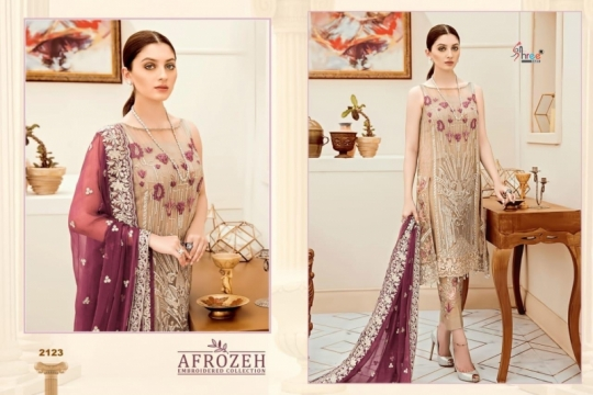 SHREE FABS SURAT AFROZEH EMBROIDERED COLLECTION PAKISTANI SUITS WHOLESALE DEALER BEST RATE BY GOSIYA EXPORTS SURAT (3)