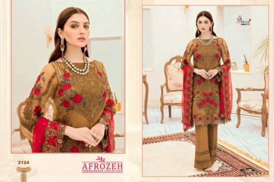 SHREE FABS SURAT AFROZEH EMBROIDERED COLLECTION PAKISTANI SUITS WHOLESALE DEALER BEST RATE BY GOSIYA EXPORTS SURAT (4)