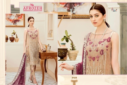 SHREE FABS SURAT AFROZEH EMBROIDERED COLLECTION PAKISTANI SUITS WHOLESALE DEALER BEST RATE BY GOSIYA EXPORTS SURAT (8)