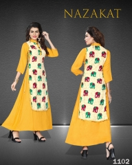 SUVESH NAZAKAT REYON SLUB KURTI COLLECTION WHOLESALER BEST RATE BY GOSIYA EXPORTS SURAT (2)