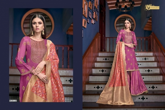 SWAGAT VIOLET 6201-6214 SERIES SILK INDIAN FESTIVE DRESSES COLLECTION 2019 WHOLESALE DEALER BEST RATE BY GOSIYA EXPORTS SURAT (3)