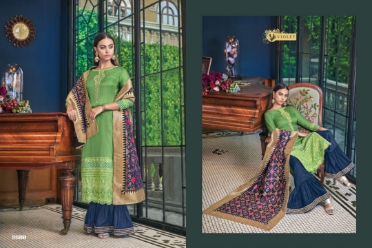SWAGAT VIOLET 6201-6214 SERIES SILK INDIAN FESTIVE DRESSES COLLECTION 2019 WHOLESALE DEALER BEST RATE BY GOSIYA EXPORTS SURAT (5)