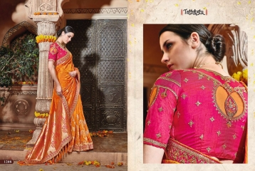 TATHASTU 12 SAREES DESIGNER HEAVY SILK SAREES ARE AVAILABLE AT WHOLESALE BEST RATE BY GOSIYA EXPORTS SURAT (11)
