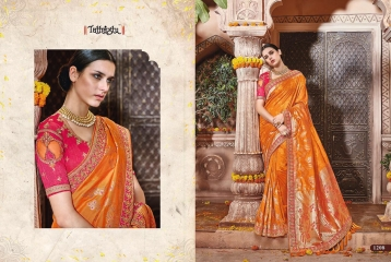 TATHASTU 12 SAREES DESIGNER HEAVY SILK SAREES ARE AVAILABLE AT WHOLESALE BEST RATE BY GOSIYA EXPORTS SURAT (12)
