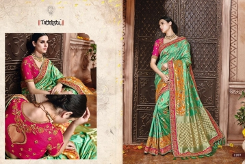 TATHASTU 12 SAREES DESIGNER HEAVY SILK SAREES ARE AVAILABLE AT WHOLESALE BEST RATE BY GOSIYA EXPORTS SURAT (13)