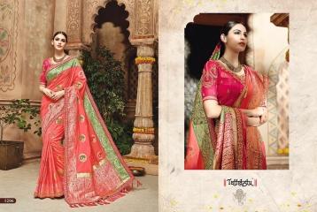 TATHASTU 12 SAREES DESIGNER HEAVY SILK SAREES ARE AVAILABLE AT WHOLESALE BEST RATE BY GOSIYA EXPORTS SURAT (15)