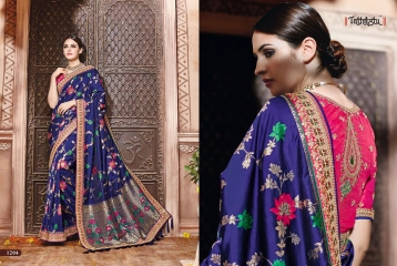 TATHASTU 12 SAREES DESIGNER HEAVY SILK SAREES ARE AVAILABLE AT WHOLESALE BEST RATE BY GOSIYA EXPORTS SURAT (17)