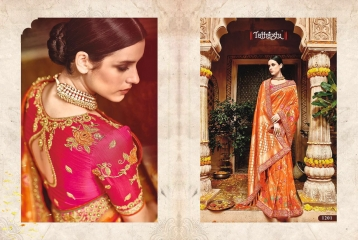 TATHASTU 12 SAREES DESIGNER HEAVY SILK SAREES ARE AVAILABLE AT WHOLESALE BEST RATE BY GOSIYA EXPORTS SURAT (20)