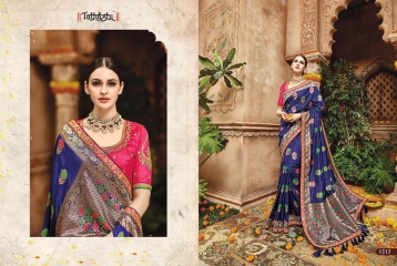 TATHASTU 12 SAREES DESIGNER HEAVY SILK SAREES ARE AVAILABLE AT WHOLESALE BEST RATE BY GOSIYA EXPORTS SURAT (3)