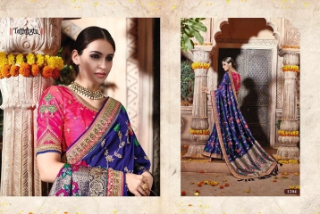 TATHASTU 12 SAREES DESIGNER HEAVY SILK SAREES ARE AVAILABLE AT WHOLESALE BEST RATE BY GOSIYA EXPORTS SURAT (7)