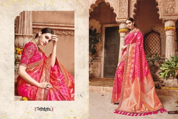 TATHASTU 12 SAREES DESIGNER HEAVY SILK SAREES ARE AVAILABLE AT WHOLESALE BEST RATE BY GOSIYA EXPORTS SURAT (8)