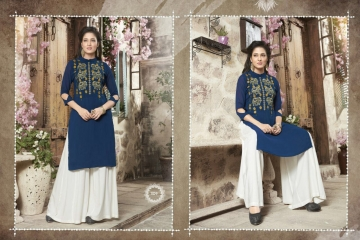 VALENCIA TEX ZOYA CATALOGUE GEORGETTE PARTY WEAR EMBROIDERED KURTI (9)
