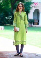 VESH SILKY CATALOG SILKS DESIGNER EMBROIDERED PARTY WEAR KURTIES COLLECTION AT (2)