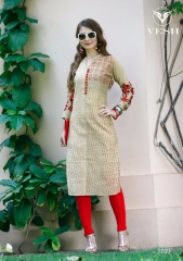 VESH SILKY CATALOG SILKS DESIGNER EMBROIDERED PARTY WEAR KURTIES COLLECTION AT (3)