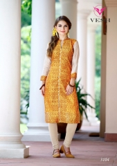 VESH SILKY CATALOG SILKS DESIGNER EMBROIDERED PARTY WEAR KURTIES COLLECTION AT (4)
