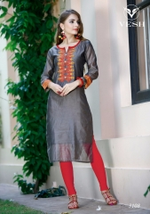VESH SILKY CATALOG SILKS DESIGNER EMBROIDERED PARTY WEAR KURTIES COLLECTION AT (8)