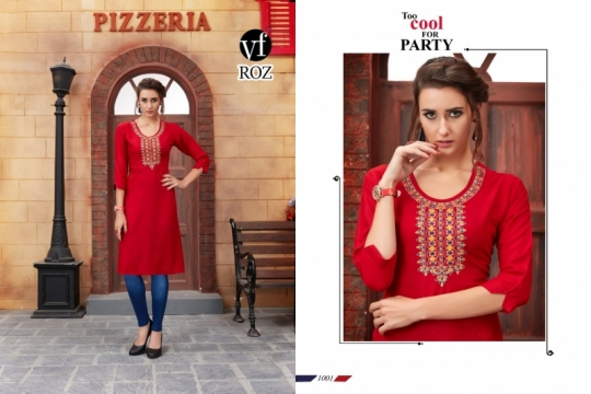 VF ROZ HAVEY EMBROIDERED KURTI WHOLESALE RATE AT GOSIYA EXPORTS SURAT  (1)