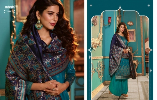 ZUBEDA PRESENTS SEHER SILK JACQURAD FABRIC WITH EMBROIDERY WORK SALWAR SUIT WHOLESALE DEALER BEST RATE BY GOSIYA EXPORTS SURAT (10)