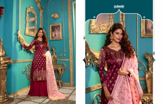ZUBEDA PRESENTS SEHER SILK JACQURAD FABRIC WITH EMBROIDERY WORK SALWAR SUIT WHOLESALE DEALER BEST RATE BY GOSIYA EXPORTS SURAT (12)