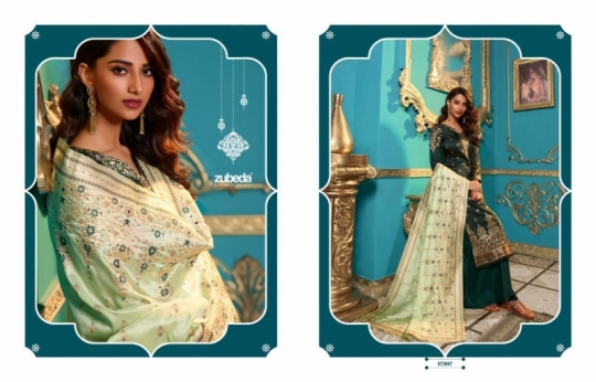 ZUBEDA PRESENTS SEHER SILK JACQURAD FABRIC WITH EMBROIDERY WORK SALWAR SUIT WHOLESALE DEALER BEST RATE BY GOSIYA EXPORTS SURAT (14)