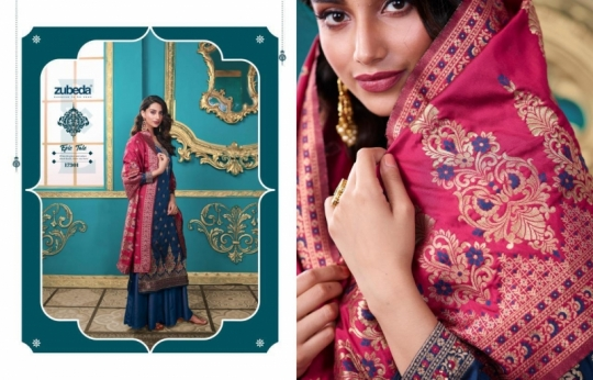 ZUBEDA PRESENTS SEHER SILK JACQURAD FABRIC WITH EMBROIDERY WORK SALWAR SUIT WHOLESALE DEALER BEST RATE BY GOSIYA EXPORTS SURAT (16)