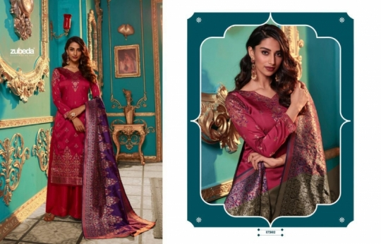 ZUBEDA PRESENTS SEHER SILK JACQURAD FABRIC WITH EMBROIDERY WORK SALWAR SUIT WHOLESALE DEALER BEST RATE BY GOSIYA EXPORTS SURAT (3)