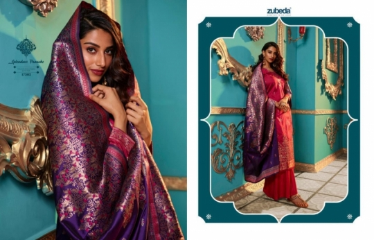 ZUBEDA PRESENTS SEHER SILK JACQURAD FABRIC WITH EMBROIDERY WORK SALWAR SUIT WHOLESALE DEALER BEST RATE BY GOSIYA EXPORTS SURAT (5)